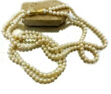 Natural Freshwater Pearl Necklace 2 Strands 26.8' 18k Gold Antique Clasp