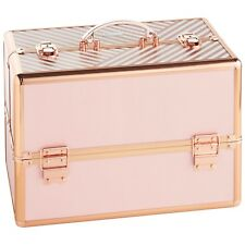 "Beautify Large Makeup Cosmetic Organizer Train Case 14"" Striped Blush Pink"