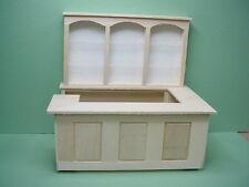 Dollhouse Miniature Large  Pub Bar & Back Shelf (2pc)  #2500 Unpainted Basswood