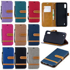 Flip Denim leather Case Wallet Stand Cover For Samsung S10 M10 M20 Huawei P30