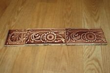 3 Vintage Antique HAMILTON Glazed Brown Floral Tile #1230