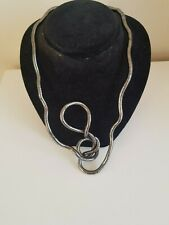 Metal Necklace Round Bendy Snake Pewter Color Flexible Twisty Costume Jewellery