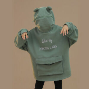 Women Thick Sweatshirt Harajuku Green Frog Hoodies Casual Pullovers Winter Fall