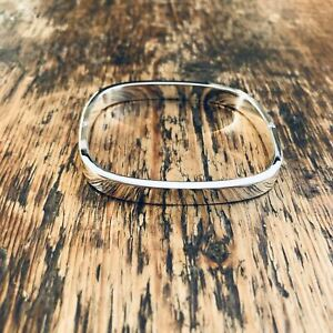 'Bare' Rectangle Sterling Silver Hinged Locking Bangle
