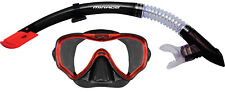 Mirage Adult Crystal Mask and Snorkel Set - black silicone skirt - red trim