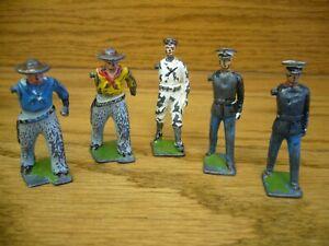 Vintage Lot of 5 BRITAINS LTD Lead Toy Figures (2-Cowboys  1-Sailor  2-Soldiers)
