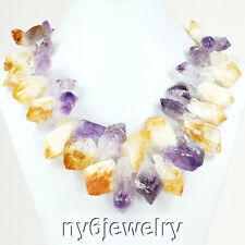 *Raw Gold Citrine & Purple Amethyst Beads Necklace with Gold Tone Clasp 20-22""