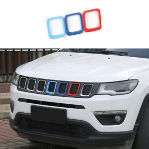 Fit For Jeep Compass 2017-2020 Tricolor Front Grille Grill Ring Frame Cover Trim