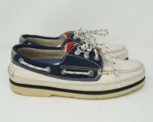 VTG Tommy Hilfiger Sailing Wear Boat Shoes White & Blue Men's US 8