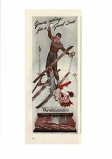 VINTAGE 1946 WESTMINSTER AMERICAN SOCKS SNOW SKIS SKIING GLOVES MITS AD PRINT
