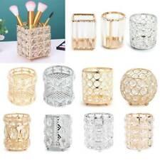 Retro Glitter Metal Makeup Brush Storage Box Crystal Cosmetic Organizer Holder