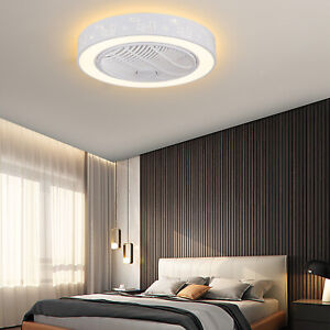 23 inch Modern Flush Mount Ceiling Fan w/ Dimmable LED Light + Remote Control US