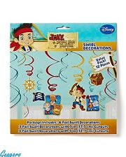 JAKE AND THE NEVER LAND PIRATES 12 PCS SWIRLS DECORATION Birthday Party Supplies