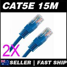 2x 15m Cat 5 5E Cat5 Cat5E Blue  Ethernet Network LAN Patch Cable Lead