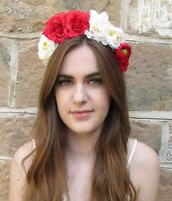 Red Ivory White Rose Flower Hair Crown Garland Headband Vtg Festival Bridal W63