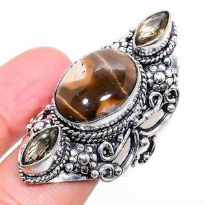 Brecciated Mookaite, Smoky Quartz 925 Sterling Silver Jewelry Ring Size 9.5 l666
