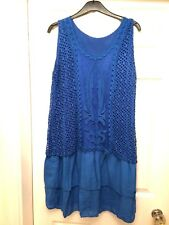 GORGEOUS MADE IN ITALY ROYAL BLUE SUMMER BEACH DRESS ONE SIZE WOMENS LADIES NEW