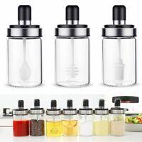 Glass Seasoning Bottle Storage Box Jar Spoon Salt Spice Pepper Kitchen Supplies