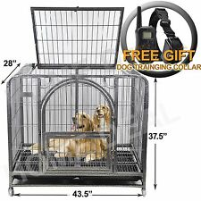 NEW Dog Crate Kennel Heavy Duty Frame Silver Metal Pet Cage - Trays Doors Wheels