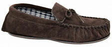 Mens Moccasin Slippers / Brown Leather Suede Laced Sleepers 7 to 15