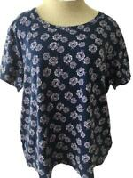 White Stag knit top size 2X 20 short sleeve purple floral cotton