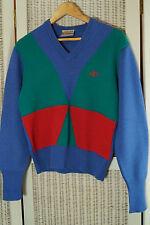 JAEGER SPORTSMAN Vintage Jumper Men's XS, Women's S Colour Block Unisex Sweater