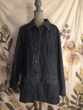LANDS END Womens Denim Jean Jacket 5 Button Size 16 Dark Wash