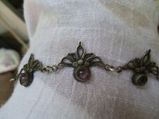 ANTIQUE VICTORIAN STERLING SILVER AMETHYST CHOKER NECKLACE NO RESERVE 1800's