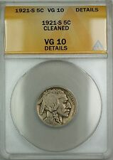 1921-S Buffalo Nickel 5c ANACS VG-10 Details Cleaned (Better Coin)