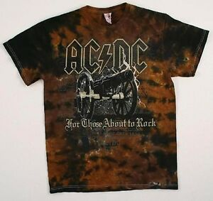 AC DC-CANNON-SALUTE-For Those About To Rock-TIE DYE T-SHIRT M,L,3X LMTD-Vintage