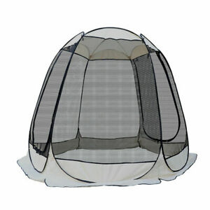 Tent Bug Screen Popup Dome Camping Enclosure Zipper Entrance Stake Sandbag 10ft