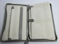 New Pottery Barn McKenna Jewelry Binder travel case leather light Gray Mono KGB