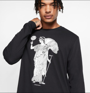 Nike Men's Marble HBR Graphic Long Sleeve Shirt Winged goddess of Victory Tshirt