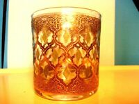 Vintage MCM Culver Valencia 22K Emerald Old Fashioned Lowball Rock Glass