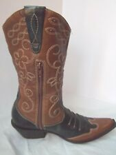 Matisse boots brn blk Leather studded embroid Cowboy Western pull on zip sz 8M