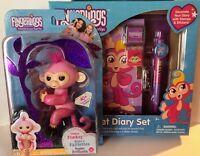 Fingerlings Pink Glitter Baby Monkey Rose w/ Bonus Fingerlings Secret Diary Set