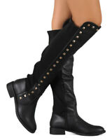 New Women Liliana Troy-2 Mix Media Over the Knee Stud Stretch Riding Boot Size