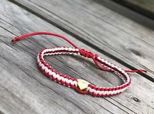 Gold  Heart Red & White Thread  Handmade Bracelet
