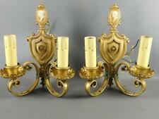 Antique Pair Bronze Figural Cameo Sconce Lights Spanish Revival  Tudor (Spain)