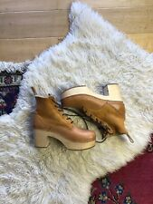 Swedish Hasbens Hippie Lace Up Shearling Fur Line Boots Sz 39