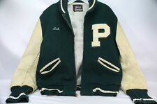 Vintage Varsity Letterman Bomber Jacket Forest Green Wool Body, Tan Leather Slee