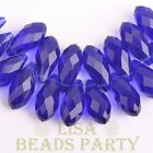 New 10pcs 16x8mm Teardrop Faceted Glass Pendant Loose Spacer Beads Deep Blue