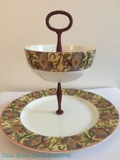 """ROYAL DOULTON Everyday CINNABAR 2 Tier Double 10.5"""" Serving Dish Dip Bowl MINT!!"""