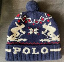 Ralph Lauren POLO Ski Cap Hat ~ Blue White Red Skiers ~ MENs ~ 100% Lambs Wool
