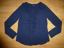 Girl's Ralph Lauren Navy Long Sleeve Full Button Placket Ruffle Jersey Top 12-14