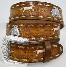 MEN'S BELTS casual western accessories HORSE CONCHO BROWN LEATHER BELT 50 NWOT!