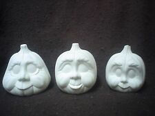 "E530 - 3 Jack-O-Lanterns Pumpkins 3 1/2"" - 4"" Tall - Ready to Paint"
