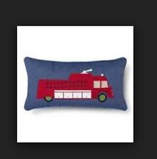 """Sheringham Rd Nathan Fire Truck Firetruck Pillow Red Gray Blue Denim New 12x24"""""""