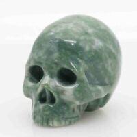 green white jasper jade hand carved skull,realistic,crystal healing K497