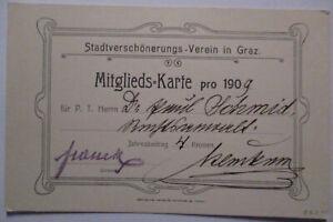 Österreich, Mitgliedskarte Stadtverschönerungsverein Graz 1909